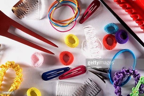 high angle view of a group of objects - hair clip stock pictures, royalty-free photos & images