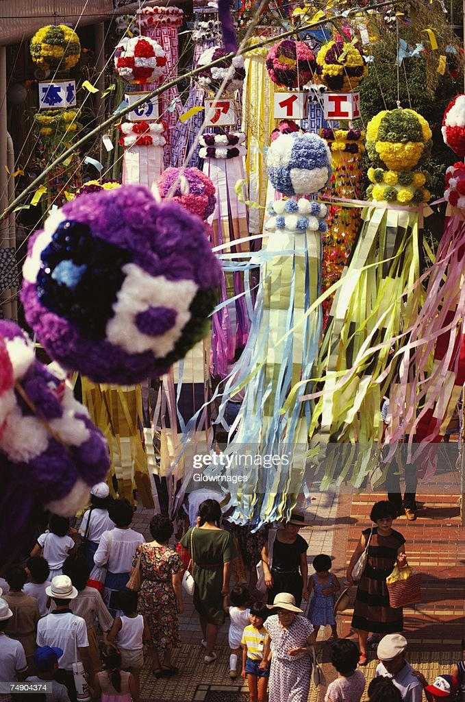 High angle view of a group of people in a traditional festival, Tanabata Festival, Sendai, Miyagi Prefecture, Japan : Stock-Foto