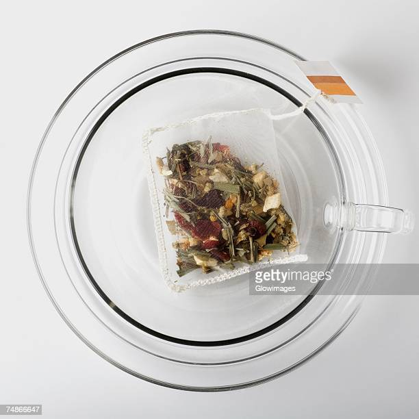 High angle view of a herbal teabag in a cup