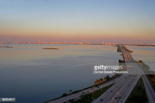 High angle view of a highway, Julia Tuttle Causeway, Miami, Florida, USA