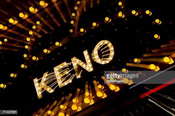 High angle view of a Keno neon sign, Las Vegas, Nevada, USA