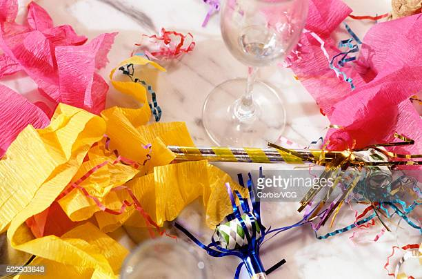 high angle view of a messy table after a big party - messy table after party stock pictures, royalty-free photos & images