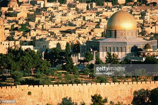 high angle view of a mosque, dome of the rock, jerusalem, israel - jerusalem antiga imagens e fotografias de stock