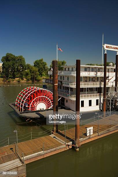 High angle view of a paddle steamer in a river