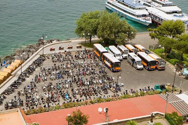 High angle view of a parking lot, Via Padre Reginaldo Giuliani, Sorrento, Sorrentine Peninsula, Naples Province, Campania, Italy
