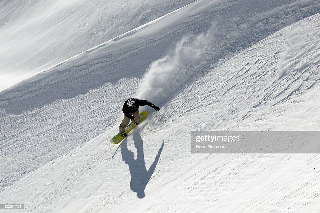High angle view of a person snowboarding, Russia  : Stock Photo