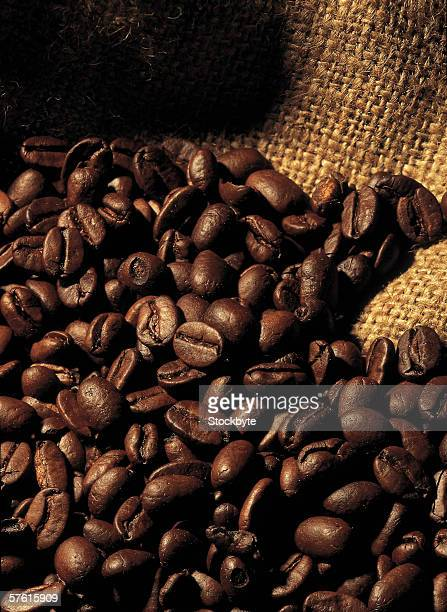 high angle view of a pile of coffee beans on a sack