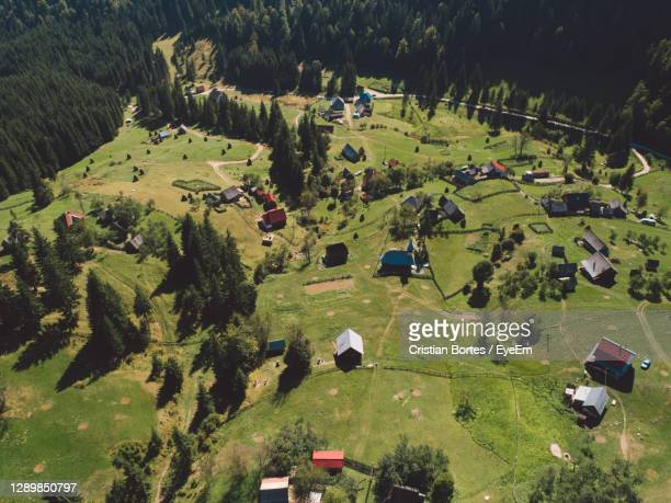 high angle view of a remote mountain village - bortes stock pictures, royalty-free photos & images