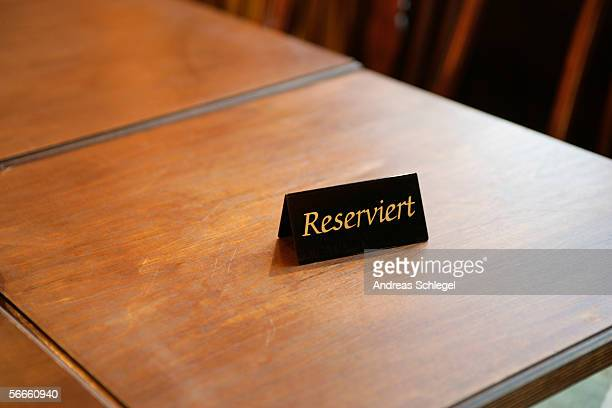 High angle view of a reserved table in a restaurant