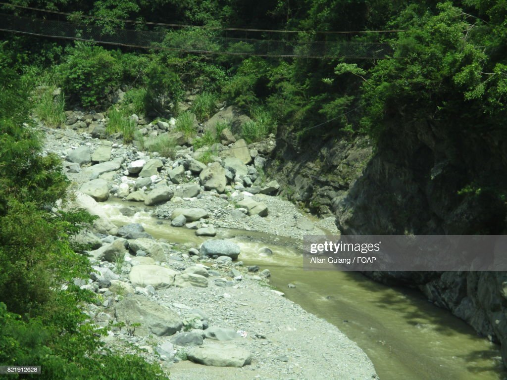 High angle view of a river in summer : Stock Photo