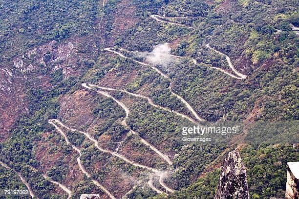 High angle view of a road on mountains, Machu Picchu, Cusco Region, Peru