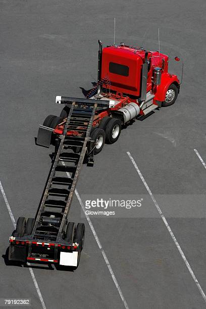 High angle view of a semi-truck at a commercial dock