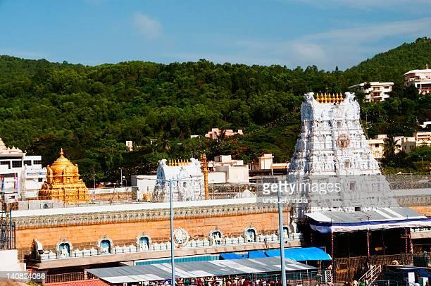 High angle view of a temple, Tirumala Venkateswara Temple, Tirumala, Tirupati, Chittoor District, Andhra Pradesh, India