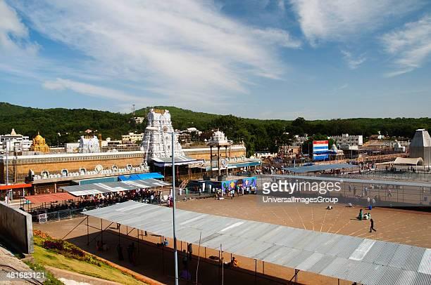High angle view of a temple Tirumala Venkateswara Temple Tirumala Tirupati Chittoor District Andhra Pradesh India