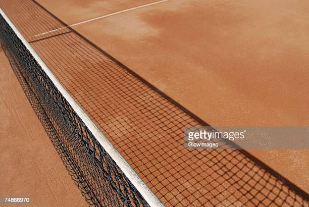 High angle view of a tennis net