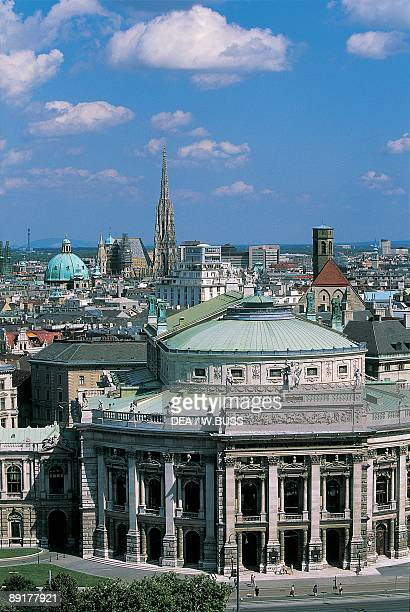 High angle view of a theater building in a city Burgtheater Vienna Austria