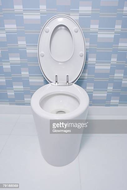 High angle view of a toilet bowl in a bathroom