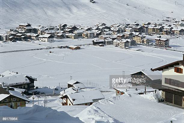 High angle view of a town covered with snow Livigno Lombardy Italy