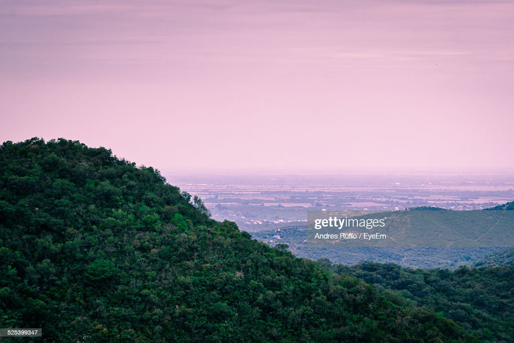 High Angle View of A Valley At Sunset : Stock Photo