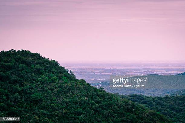 high angle view of a valley at sunset - andres ruffo stock pictures, royalty-free photos & images