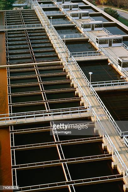 High angle view of a water treatment plant, Potomac River, Maryland, USA