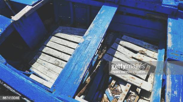 High Angle View Of Abandoned Blue Wooden Boat