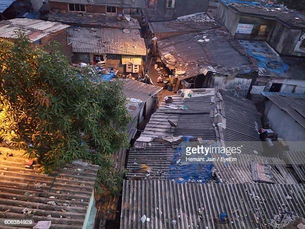 High Angle View Of Abandoned Houses At Slum Area In City