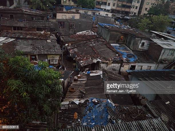 High Angle View Of Abandoned Houses In Slum Area