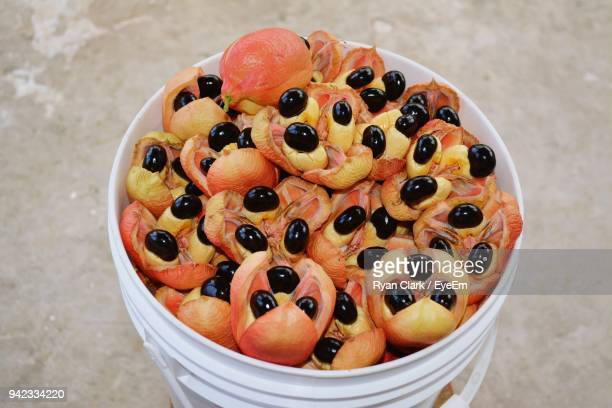 High Angle View Of Ackee In Bucket