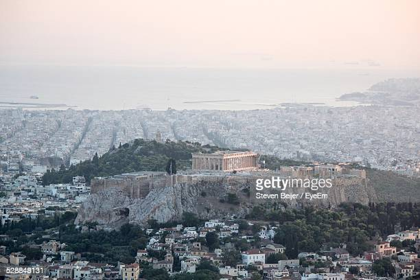 High Angle View Of Acropolis On Mountain Amidst Cityscape