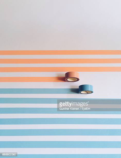 high angle view of adhesive tapes on table - de rola imagens e fotografias de stock