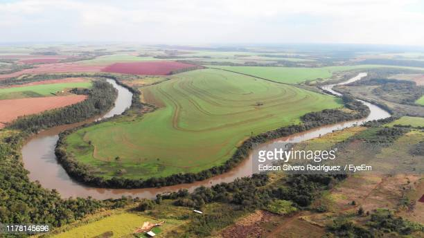 high angle view of agricultural field against sky - paraguay stock pictures, royalty-free photos & images
