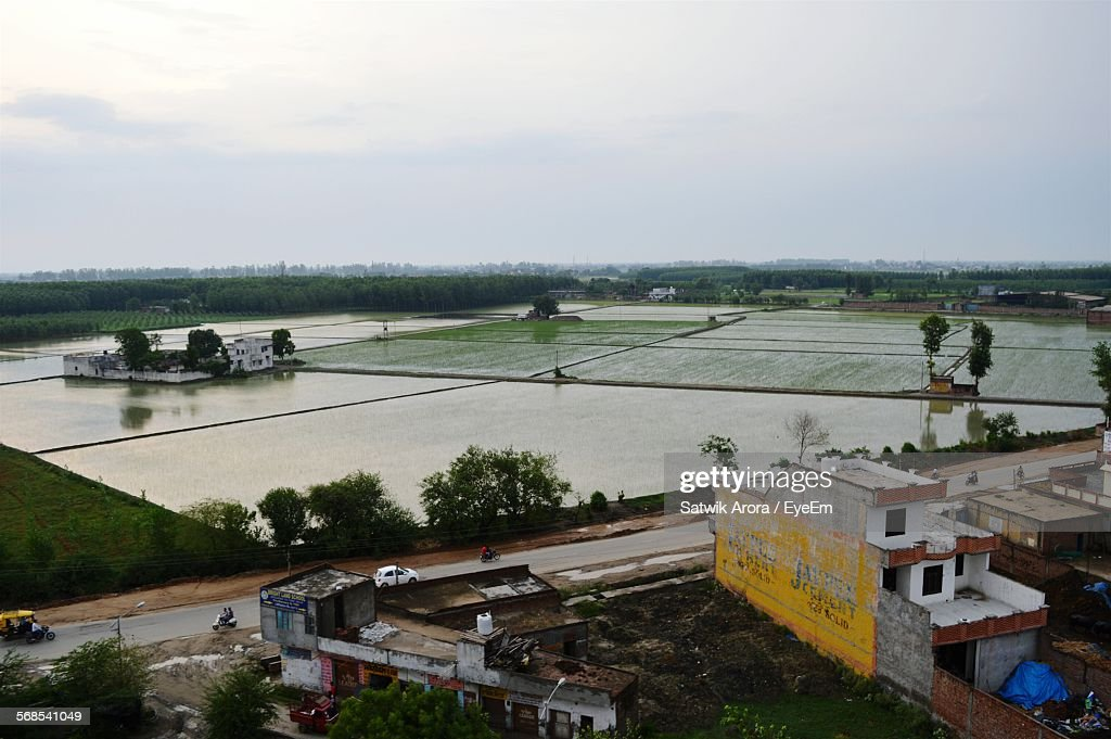 High Angle View Of Agricultural Field Against Sky : Stock Photo