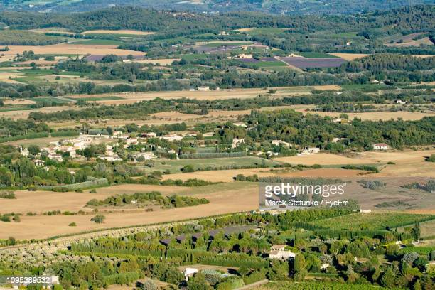 high angle view of agricultural field - marek stefunko stock photos and pictures