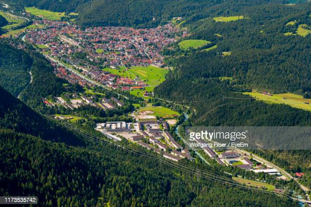 high angle view of agricultural field - mittenwald stock-fotos und bilder