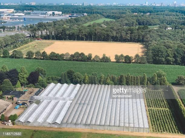 high angle view of agricultural field - bortes fotografías e imágenes de stock