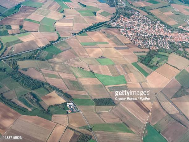 high angle view of agricultural field - bortes stock pictures, royalty-free photos & images