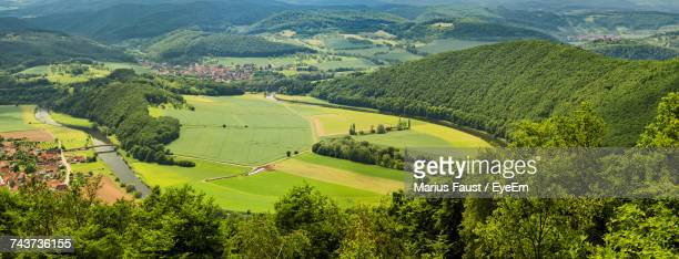 high angle view of agricultural field - thuringia stock pictures, royalty-free photos & images