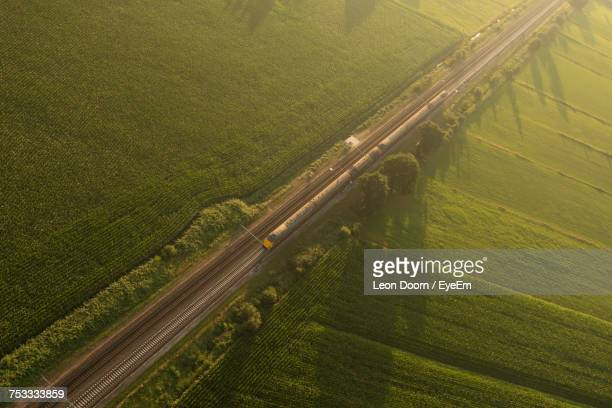 high angle view of agricultural field - amersfoort netherlands stock photos and pictures