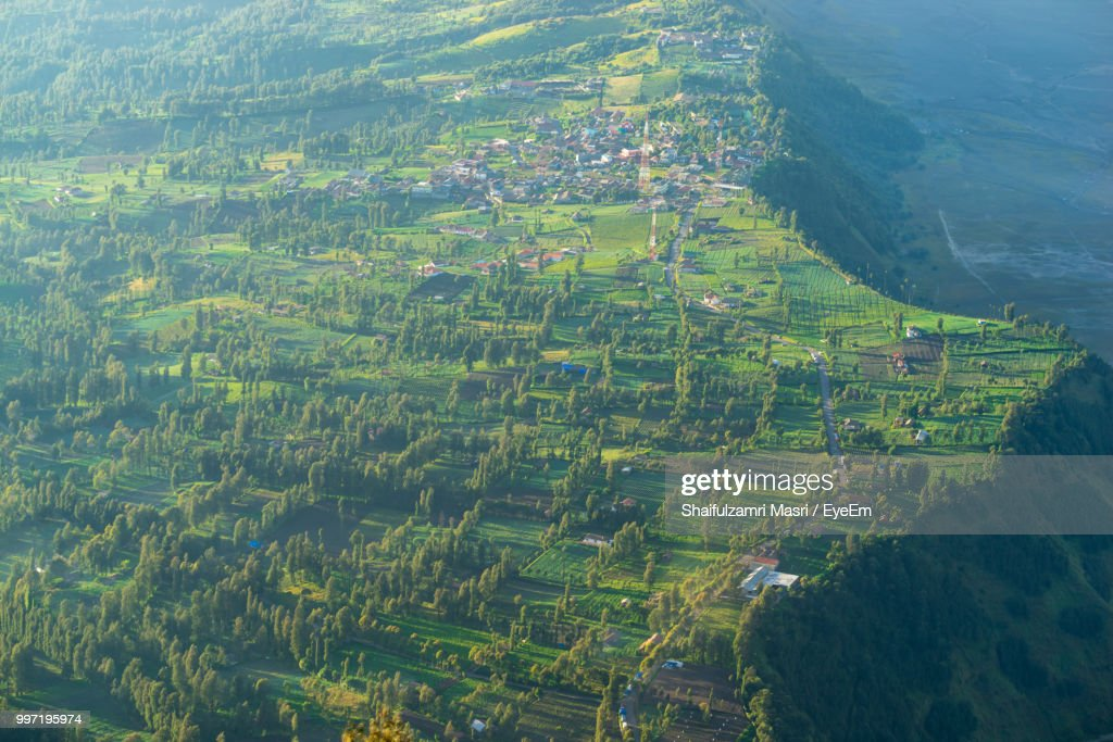 High Angle View Of Agricultural Field : Stock Photo