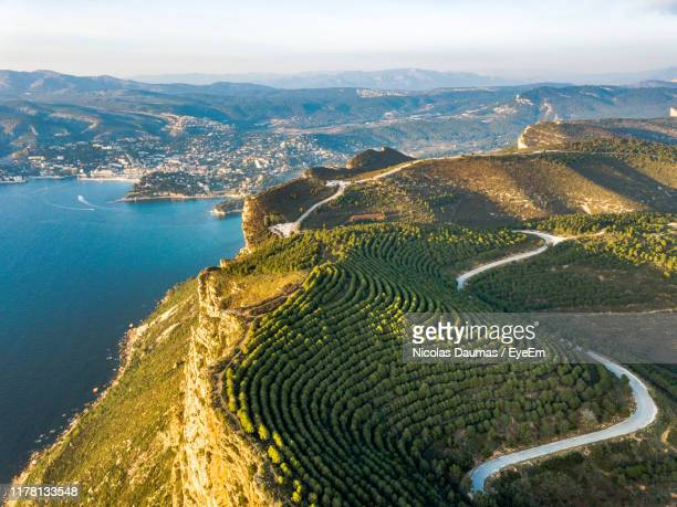 high angle view of agricultural landscape against sky - bouches du rhone stock pictures, royalty-free photos & images