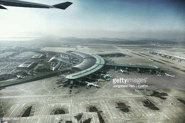High Angle View Of Airport Against Clear Sky