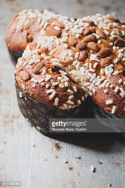 high angle view of almond cake during easter - italian easter stock pictures, royalty-free photos & images