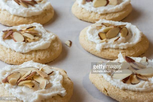 High Angle View Of Almond Cookies On Table