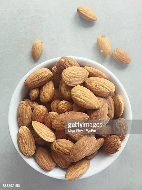 High Angle View Of Almonds In Bowl On Table