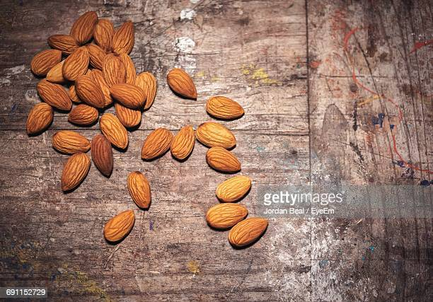 High Angle View Of Almonds On Table