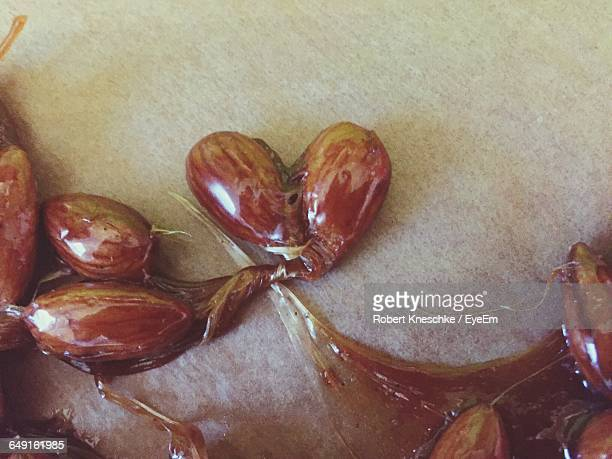 High Angle View Of Almonds With Caramel