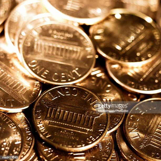 high angle view of american coins - us coin stock pictures, royalty-free photos & images