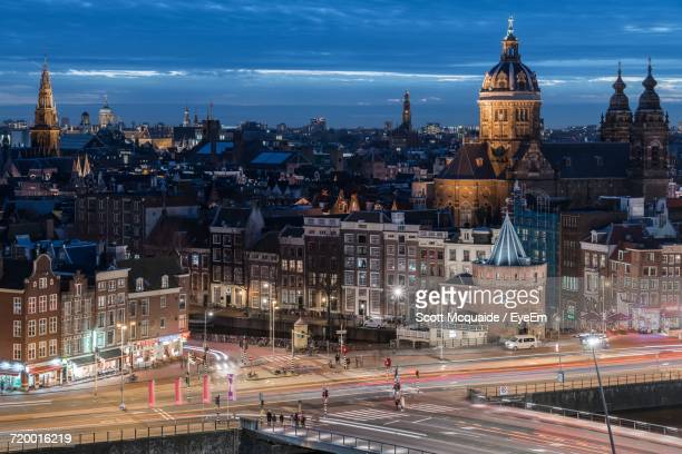 High Angle View Of Amsterdam At Dusk