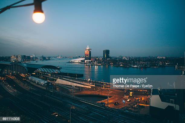High Angle View Of Amsterdam At Night
